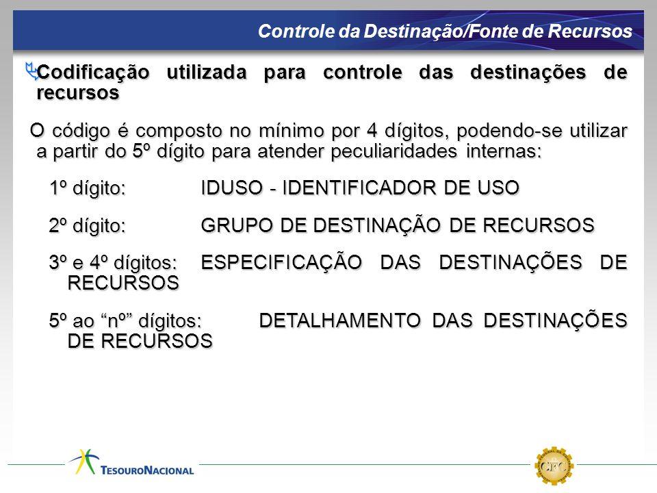 Codificação utilizada para controle das destinações de recursos Codificação utilizada para controle das destinações de recursos O código é composto no