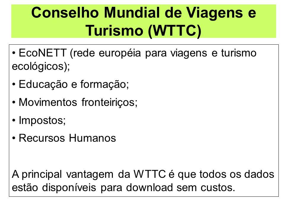 Conselho Mundial de Viagens e Turismo (WTTC) EcoNETT (rede européia para viagens e turismo ecológicos); Educação e formação; Movimentos fronteiriços;