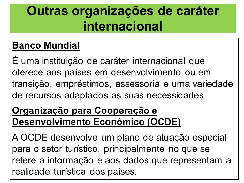 Outras organizações de caráter internacional Banco Mundial É uma instituição de caráter internacional que oferece aos países em desenvolvimento ou em