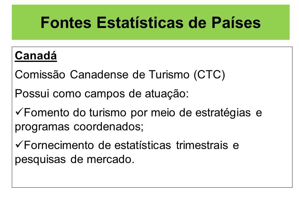 Fontes Estatísticas de Países Canadá Comissão Canadense de Turismo (CTC) Possui como campos de atuação: Fomento do turismo por meio de estratégias e p