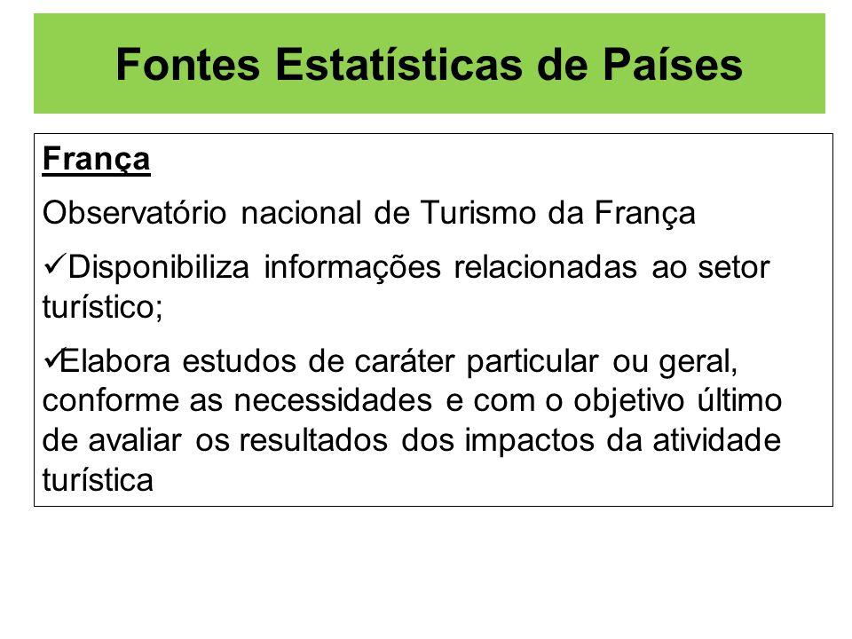 Fontes Estatísticas de Países França Observatório nacional de Turismo da França Disponibiliza informações relacionadas ao setor turístico; Elabora est