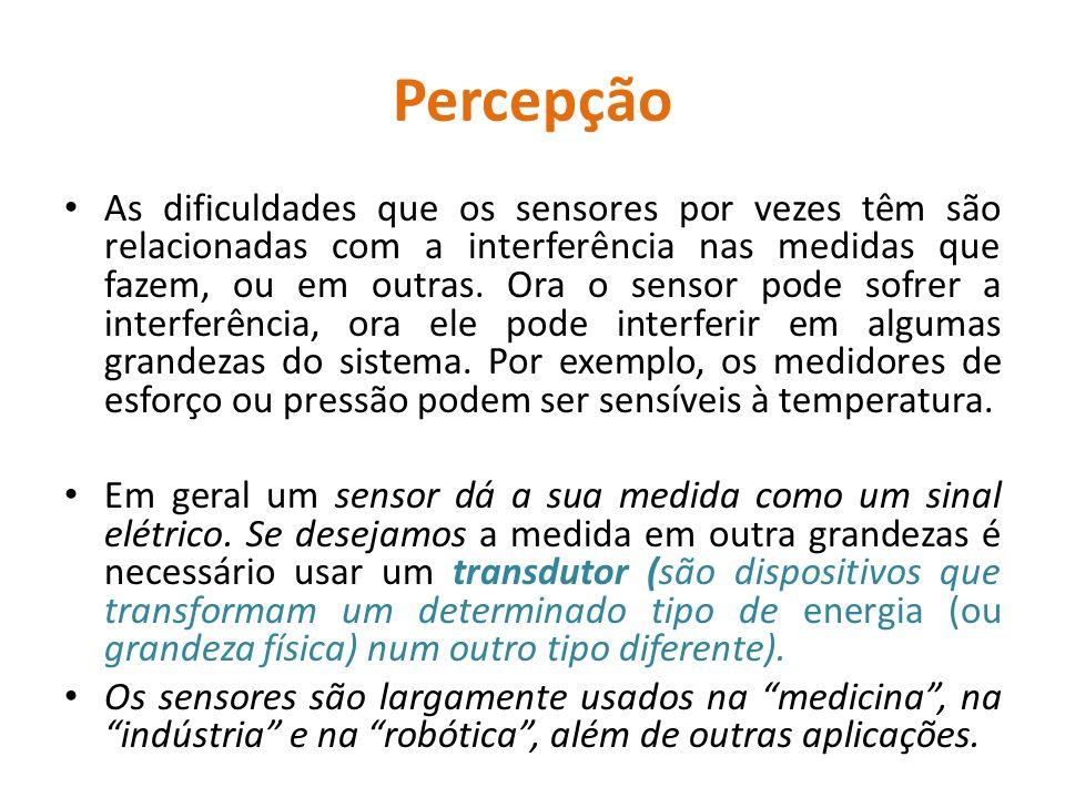 Percepção As dificuldades que os sensores por vezes têm são relacionadas com a interferência nas medidas que fazem, ou em outras.