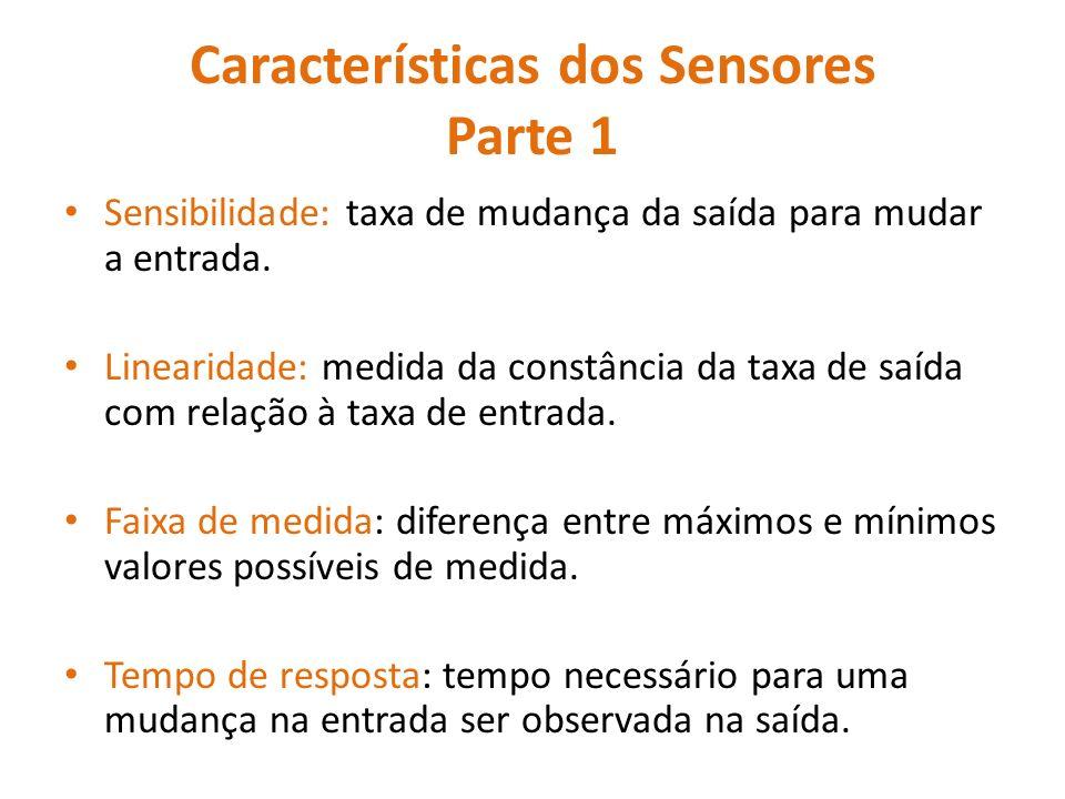 Características dos Sensores Parte 1 Sensibilidade: taxa de mudança da saída para mudar a entrada.