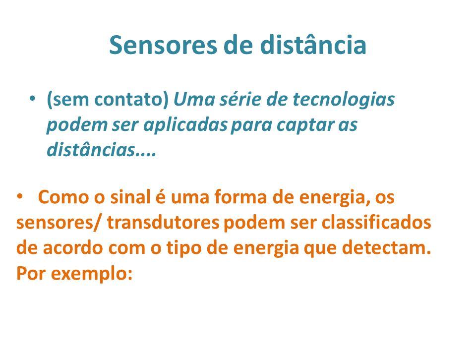 Sensores de distância (sem contato) Uma série de tecnologias podem ser aplicadas para captar as distâncias....