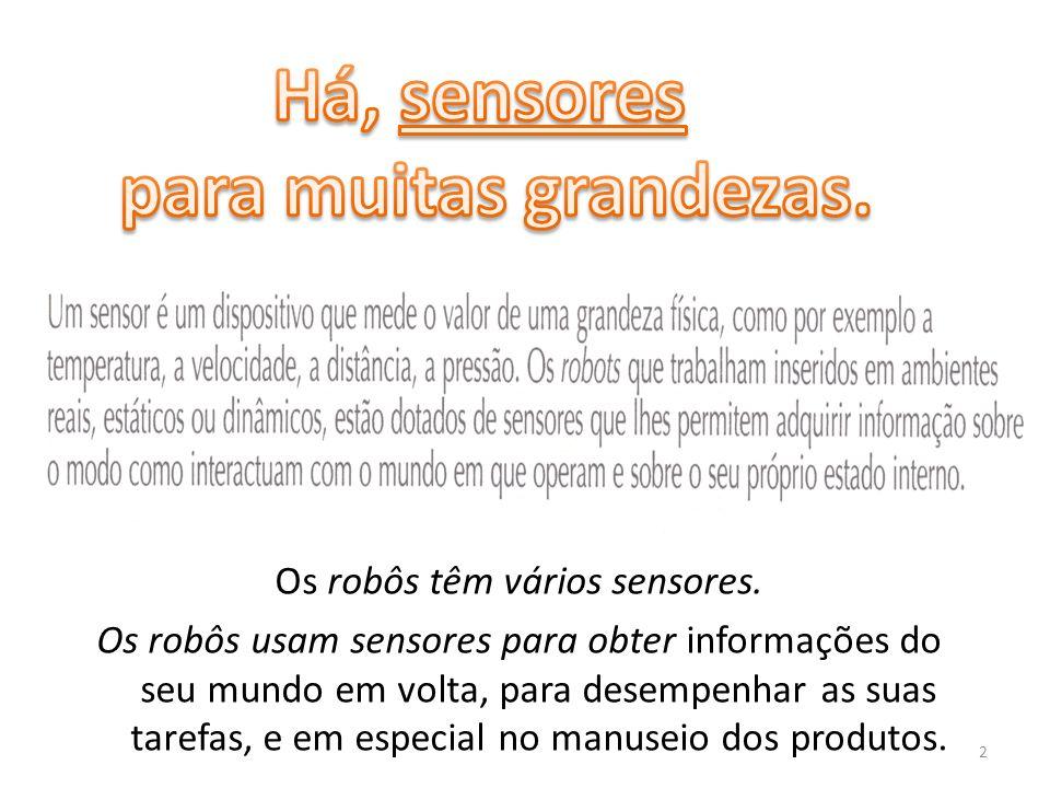 Classificação de Sensores Em relação ao tipo de informação: Sensores proprioceptivos (INTERNOS): – medem valores internos do sistema (robô), – Exemplo: velocidade do motor, direção do robô, carga da bateria.