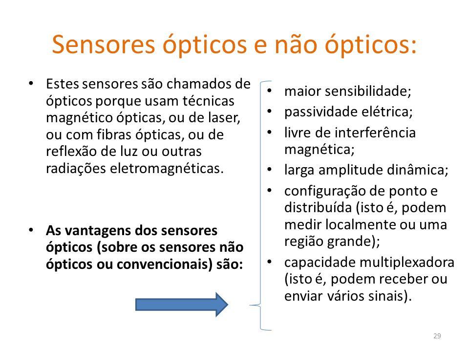 Sensores ópticos e não ópticos: Estes sensores são chamados de ópticos porque usam técnicas magnético ópticas, ou de laser, ou com fibras ópticas, ou de reflexão de luz ou outras radiações eletromagnéticas.