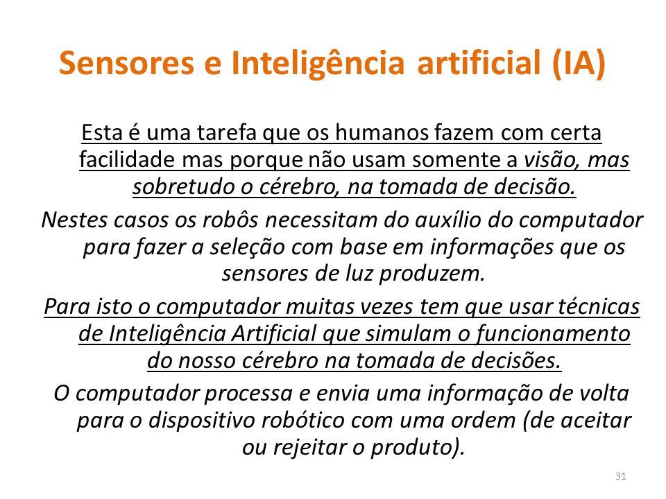 Sensores e Inteligência artificial (IA) Esta é uma tarefa que os humanos fazem com certa facilidade mas porque não usam somente a visão, mas sobretudo o cérebro, na tomada de decisão.