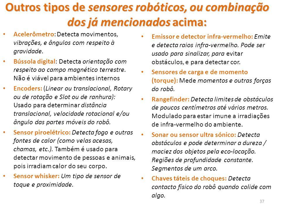 Outros tipos de sensores robóticos, ou combinação dos já mencionados acima: Acelerômetro: Detecta movimentos, vibrações, e ângulos com respeito à gravidade.