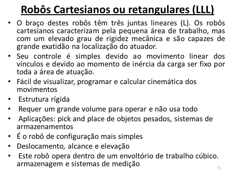 Robôs Cartesianos ou retangulares (LLL) O braço destes robôs têm três juntas lineares (L).