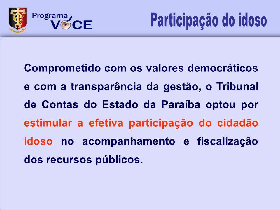 Comprometido com os valores democráticos e com a transparência da gestão, o Tribunal de Contas do Estado da Paraíba optou por estimular a efetiva part