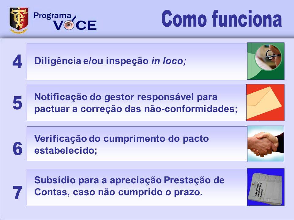 Notificação do gestor responsável para pactuar a correção das não-conformidades; Diligência e/ou inspeção in loco; Subsídio para a apreciação Prestaçã