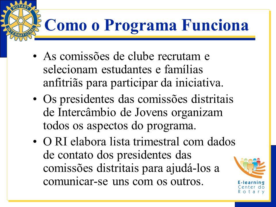 Como o Programa Funciona As comissões de clube recrutam e selecionam estudantes e famílias anfitriãs para participar da iniciativa. Os presidentes das