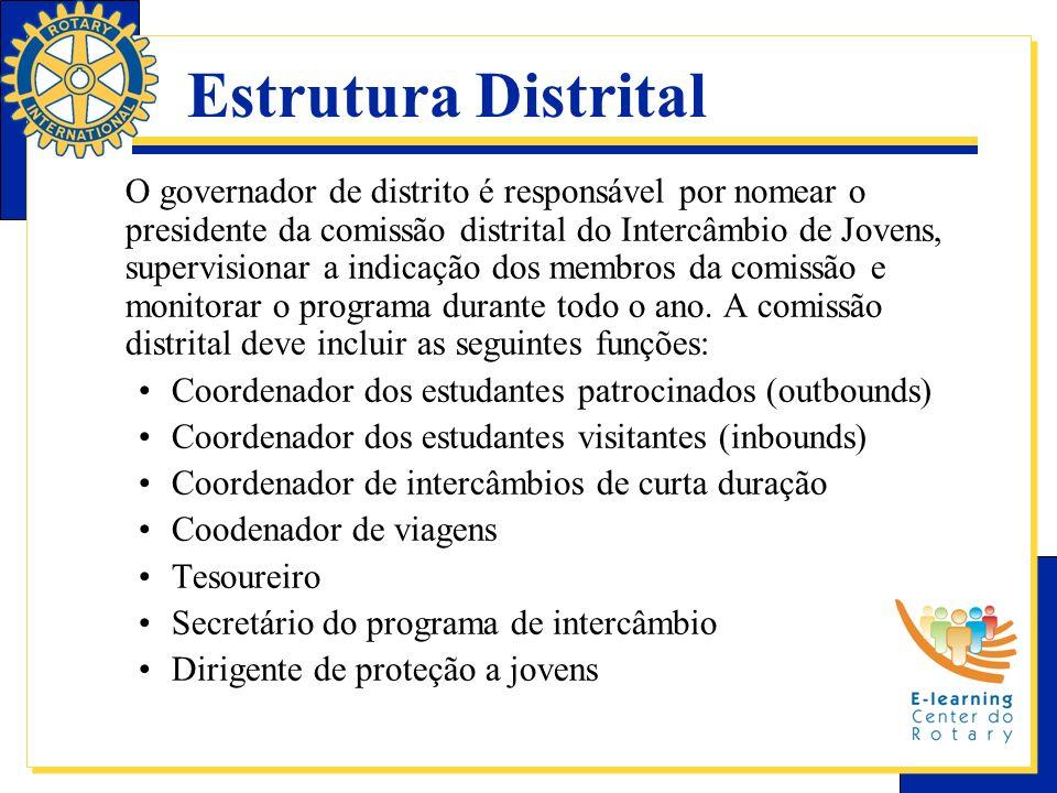 Estrutura Distrital O governador de distrito é responsável por nomear o presidente da comissão distrital do Intercâmbio de Jovens, supervisionar a ind