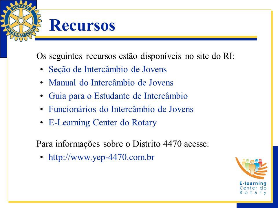 Recursos Os seguintes recursos estão disponíveis no site do RI: Seção de Intercâmbio de Jovens Manual do Intercâmbio de Jovens Guia para o Estudante d