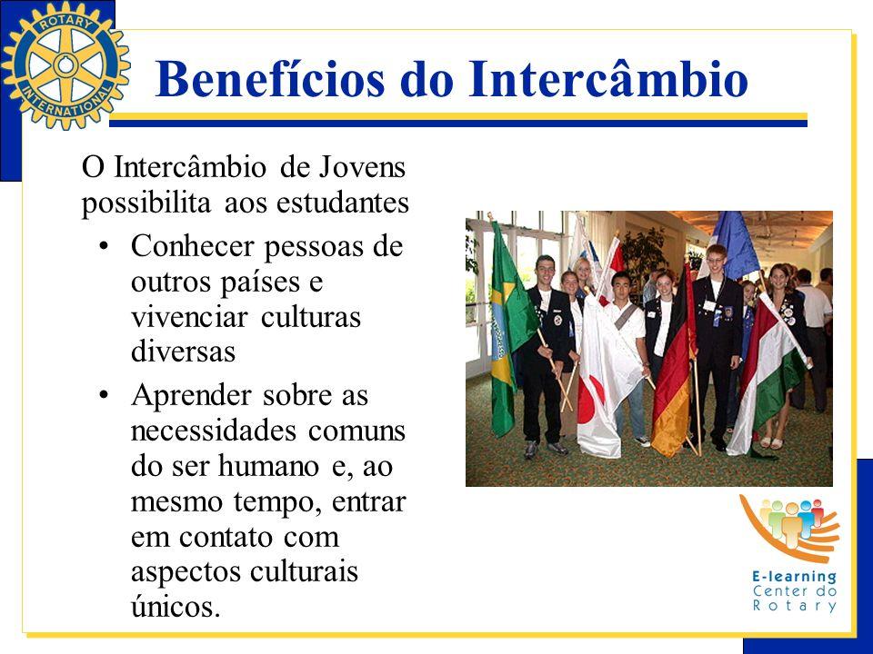 Benefícios do Intercâmbio O Intercâmbio de Jovens possibilita aos estudantes Conhecer pessoas de outros países e vivenciar culturas diversas Aprender