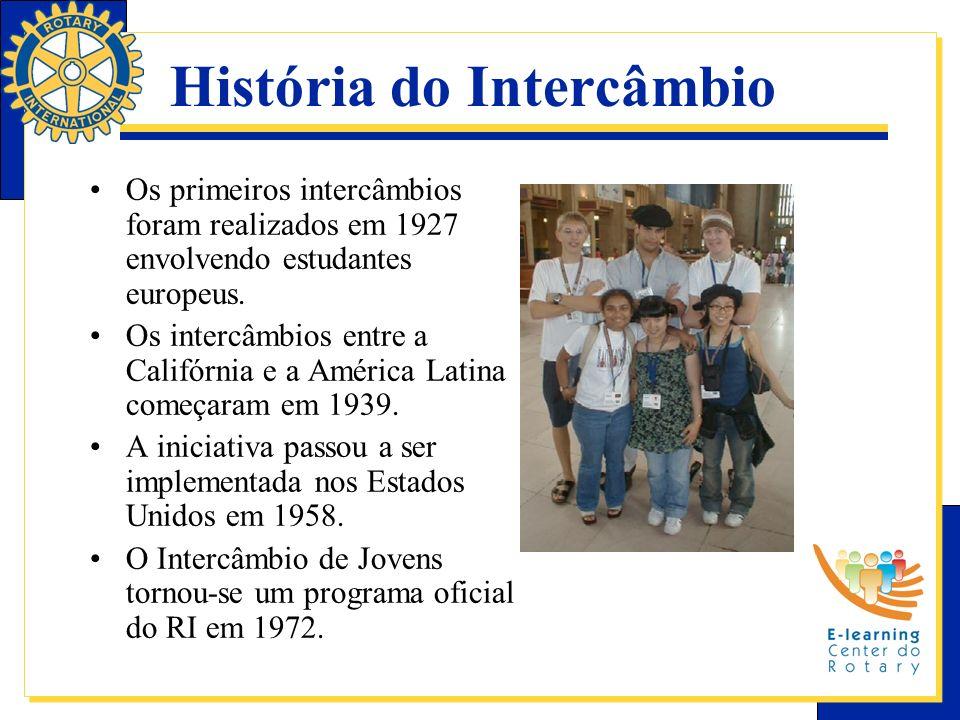 História do Intercâmbio Os primeiros intercâmbios foram realizados em 1927 envolvendo estudantes europeus. Os intercâmbios entre a Califórnia e a Amér