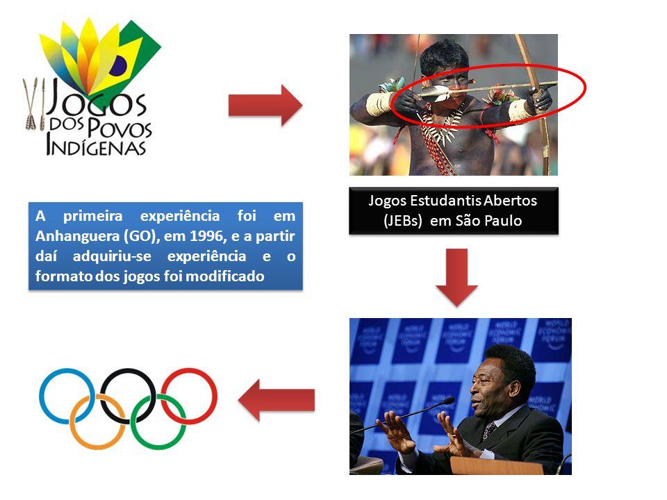 Jogos Estudantis Abertos (JEBs) em São Paulo A primeira experiência foi em Anhanguera (GO), em 1996, e a partir daí adquiriu-se experiência e o formato dos jogos foi modificado