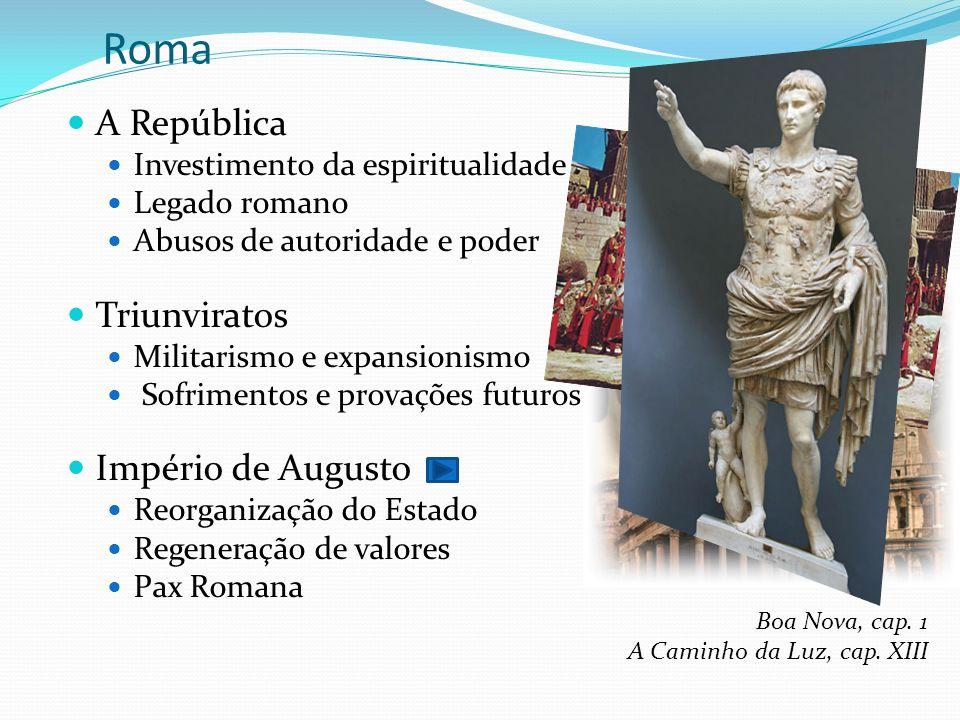 Roma A República Investimento da espiritualidade Legado romano Abusos de autoridade e poder Triunviratos Militarismo e expansionismo Sofrimentos e pro