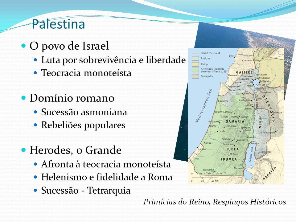 Palestina O povo de Israel Luta por sobrevivência e liberdade Teocracia monoteísta Domínio romano Sucessão asmoniana Rebeliões populares Herodes, o Gr