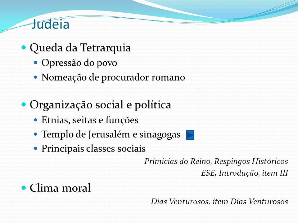 Judeia Queda da Tetrarquia Opressão do povo Nomeação de procurador romano Organização social e política Etnias, seitas e funções Templo de Jerusalém e