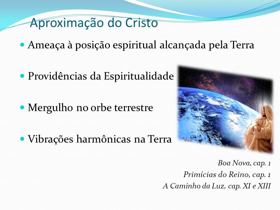 Aproximação do Cristo Ameaça à posição espiritual alcançada pela Terra Providências da Espiritualidade Mergulho no orbe terrestre Vibrações harmônicas