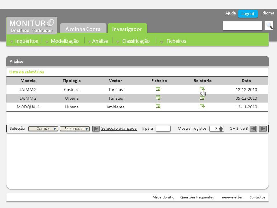 Ajuda Idioma Mapa do sítioQuestões frequentese-newsletterContactos Logout Análise Investigador A minha Conta Inquéritos Modelização Análise Classificação Ficheiros Lista de relatórios ModeloTipologiaVectorFicheiroRelatórioData JAJMMGCosteiraTuristas12-12-2010 JAJMMGUrbanaTuristas09-12-2010 MODQUAL1UrbanaAmbiente12-11-2010 Selecção Selecção avançada Ir para Mostrar registos 1 – 3 de 3 3 3 C OLUNA S ELECCIONAR