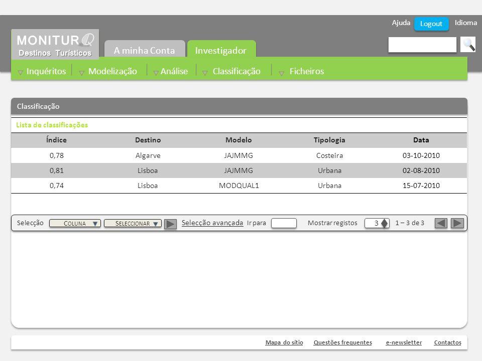 Ajuda Idioma Mapa do sítioQuestões frequentese-newsletterContactos Logout Classificação Investigador A minha Conta Inquéritos Modelização Análise Classificação Ficheiros Lista de classificações ÍndiceDestinoModeloTipologiaData 0,78AlgarveJAJMMGCosteira03-10-2010 0,81LisboaJAJMMGUrbana02-08-2010 0,74LisboaMODQUAL1Urbana15-07-2010 Selecção Selecção avançada Ir para Mostrar registos 1 – 3 de 3 3 3 C OLUNA S ELECCIONAR