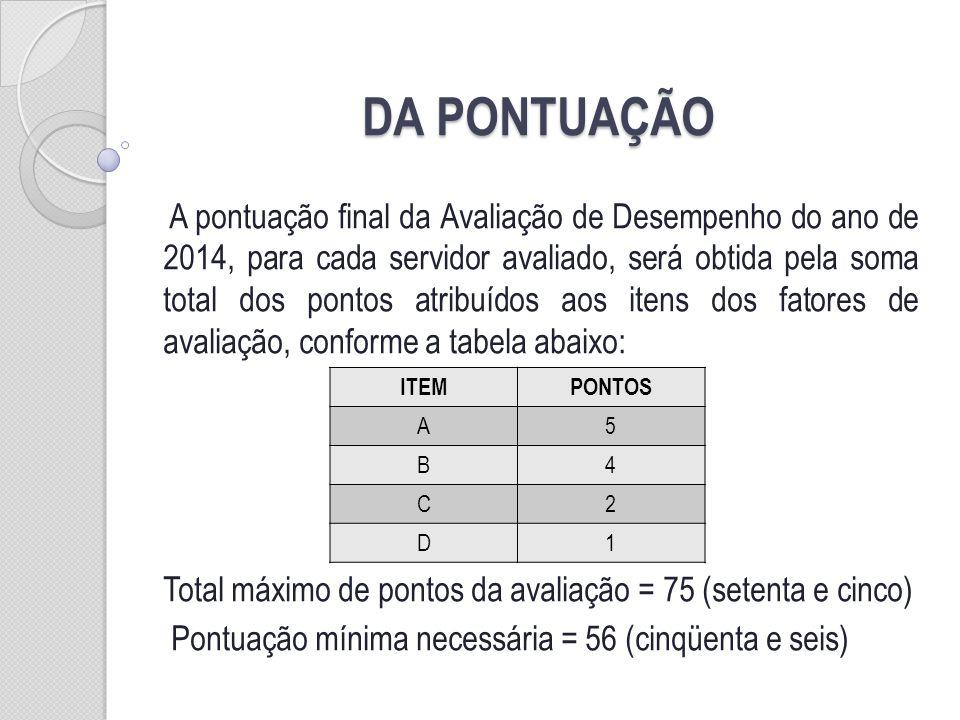 DA PONTUAÇÃO A pontuação final da Avaliação de Desempenho do ano de 2014, para cada servidor avaliado, será obtida pela soma total dos pontos atribuídos aos itens dos fatores de avaliação, conforme a tabela abaixo: Total máximo de pontos da avaliação = 75 (setenta e cinco) Pontuação mínima necessária = 56 (cinqüenta e seis) ITEMPONTOS A5 B4 C2 D1