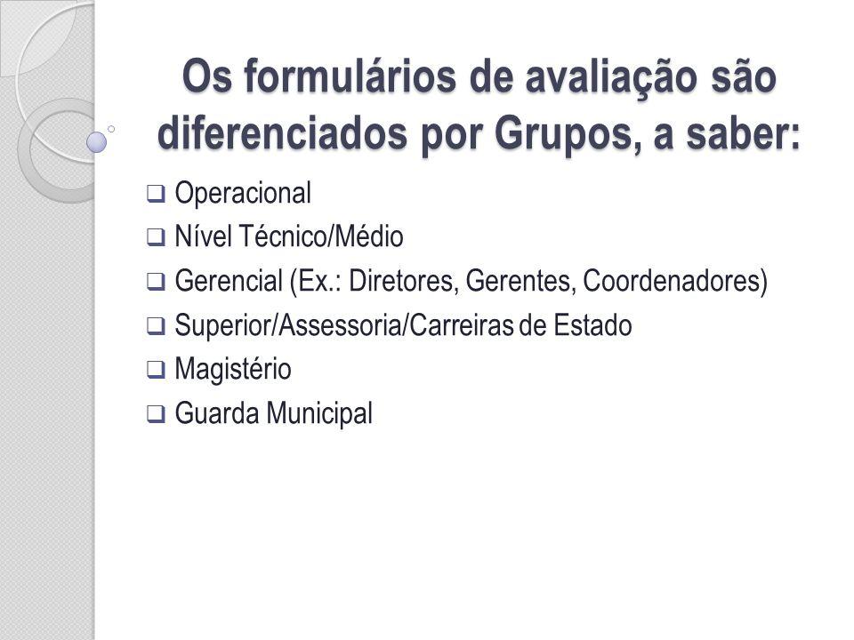 Os formulários de avaliação são diferenciados por Grupos, a saber: Operacional Nível Técnico/Médio Gerencial (Ex.: Diretores, Gerentes, Coordenadores) Superior/Assessoria/Carreiras de Estado Magistério Guarda Municipal