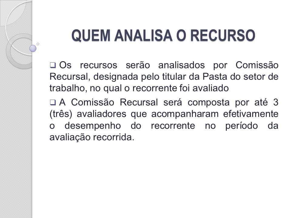 QUEM ANALISA O RECURSO Os recursos serão analisados por Comissão Recursal, designada pelo titular da Pasta do setor de trabalho, no qual o recorrente