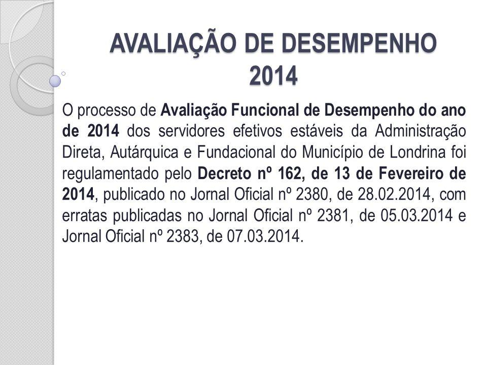 COMO SERÁ A AVALIAÇÃO DE DESEMPENHO DE 2014 A Avaliação de Desempenho Funcional do ano de 2014 constará de uma avaliação anual, obrigatória para os servidores estáveis da Administração Direta, Autárquica e Fundacional.