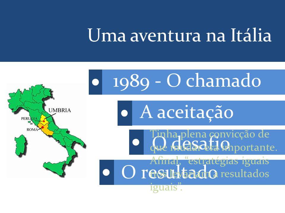 1989 - O chamado A aceitação O desafio O resultado Uma aventura na Itália Tinha plena convicção de que mudar era importante.