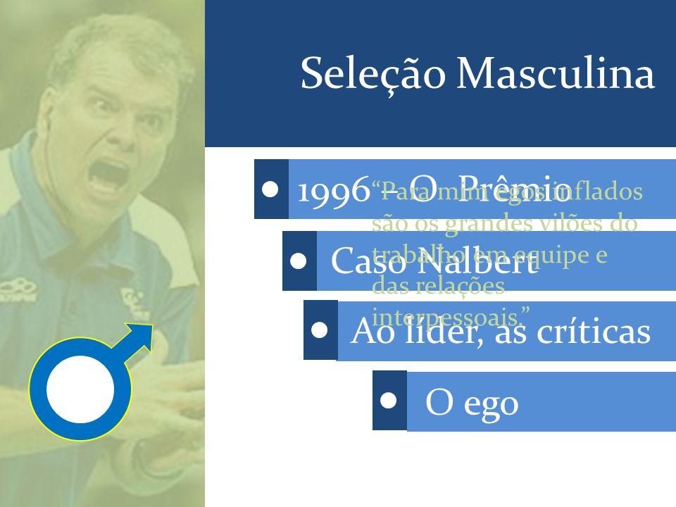 Seleção Masculina 1996 – O Prêmio Caso Nalbert Ao líder, as críticas O ego Para mim egos inflados são os grandes vilões do trabalho em equipe e das relações interpessoais.