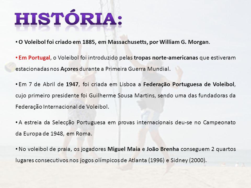O Voleibol foi criado em 1885, em Massachusetts, por William G. Morgan. Em Portugal, o Voleibol foi introduzido pelas tropas norte-americanas que esti