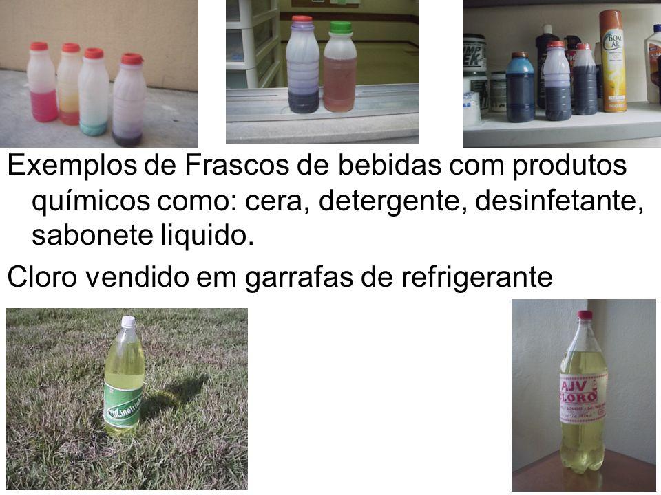 Exemplos de Frascos de bebidas com produtos químicos como: cera, detergente, desinfetante, sabonete liquido.