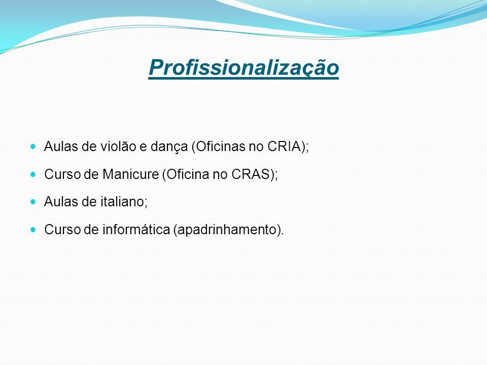 Profissionalização Aulas de violão e dança (Oficinas no CRIA); Curso de Manicure (Oficina no CRAS); Aulas de italiano; Curso de informática (apadrinhamento).