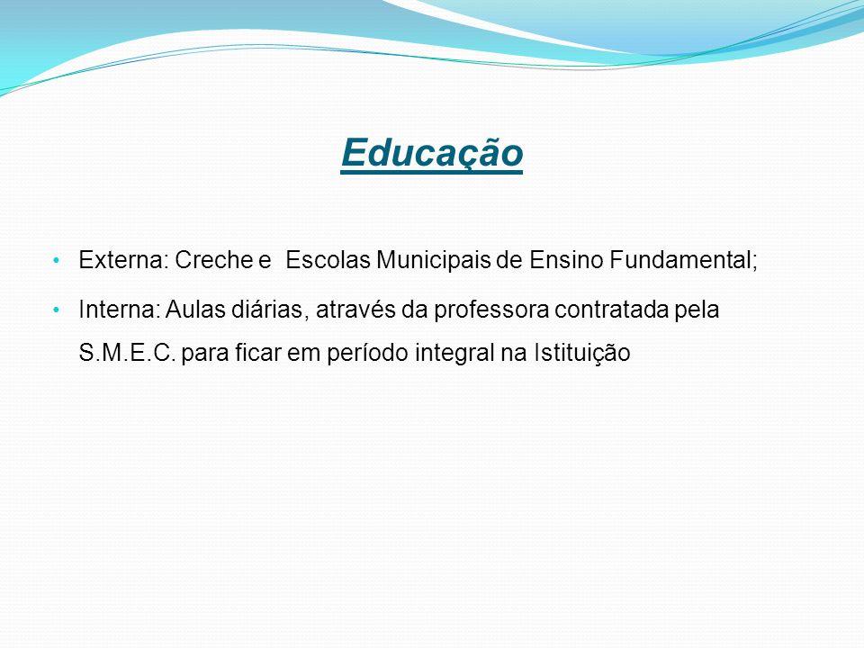 Educação Externa: Creche e Escolas Municipais de Ensino Fundamental; Interna: Aulas diárias, através da professora contratada pela S.M.E.C.