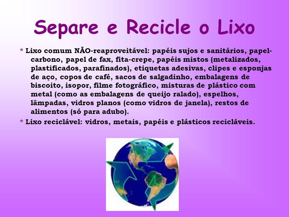 Separe e Recicle o Lixo * Lixo comum NÃO-reaproveitável: papéis sujos e sanitários, papel- carbono, papel de fax, fita-crepe, papéis mistos (metalizad