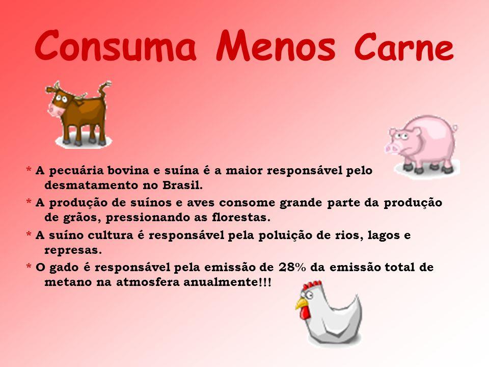 Consuma Menos Carne * A pecuária bovina e suína é a maior responsável pelo desmatamento no Brasil. * A produção de suínos e aves consome grande parte