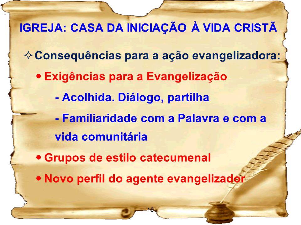 IGREJA: CASA DA INICIAÇÃO À VIDA CRISTÃ Consequências para a ação evangelizadora: Exigências para a Evangelização - Acolhida. Diálogo, partilha - Fami