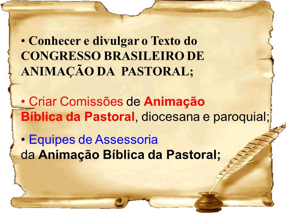 Conhecer e divulgar o Texto do CONGRESSO BRASILEIRO DE ANIMAÇÃO DA PASTORAL; Criar Comissões de Animação Bíblica da Pastoral, diocesana e paroquial; E