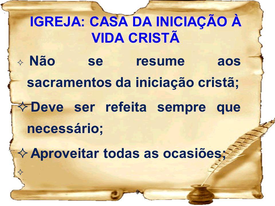 IGREJA: CASA DA INICIAÇÃO À VIDA CRISTÃ Consequências para a ação evangelizadora: Exigências para a Evangelização - Acolhida.