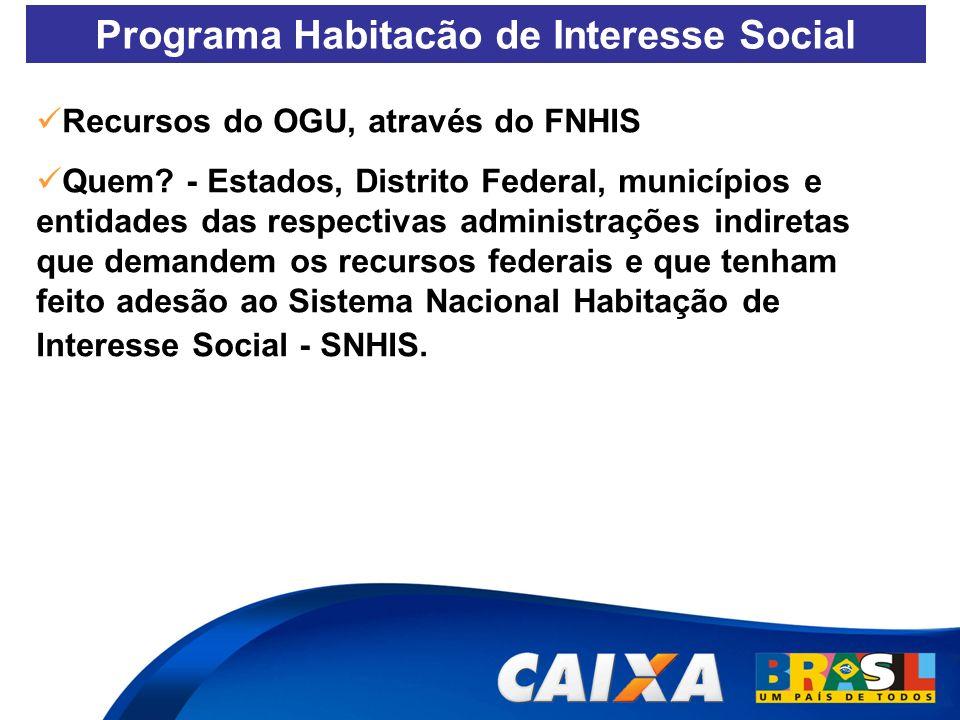 Programa Habitacão de Interesse Social Recursos do OGU, através do FNHIS Quem? - Estados, Distrito Federal, municípios e entidades das respectivas adm