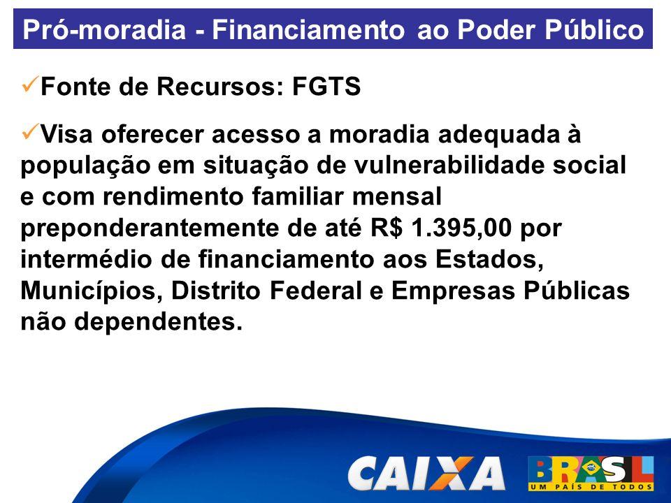 Pró-moradia - Financiamento ao Poder Público Fonte de Recursos: FGTS Visa oferecer acesso a moradia adequada à população em situação de vulnerabilidad