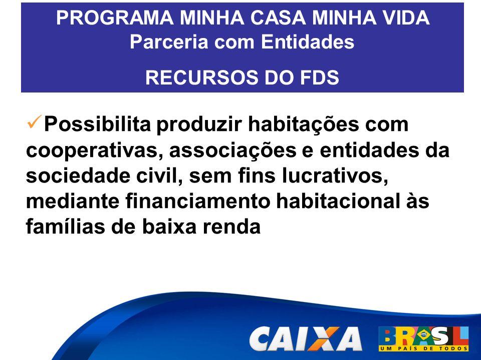 PROGRAMA MINHA CASA MINHA VIDA Parceria com Entidades RECURSOS DO FDS Possibilita produzir habitações com cooperativas, associações e entidades da soc