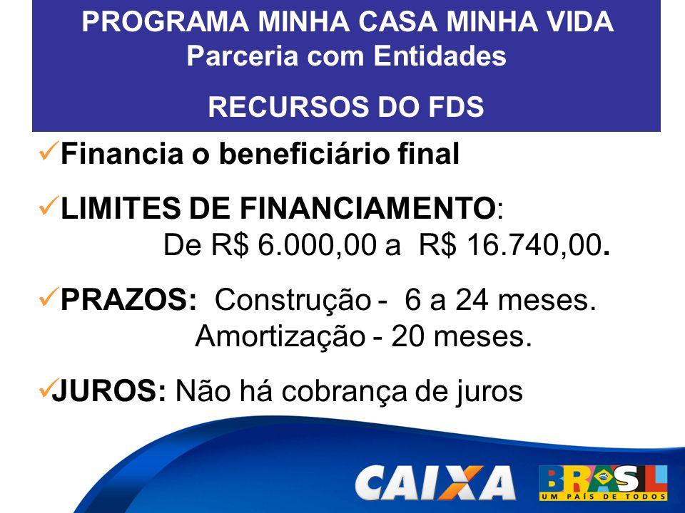 Financia o beneficiário final LIMITES DE FINANCIAMENTO: De R$ 6.000,00 a R$ 16.740,00. PRAZOS: Construção - 6 a 24 meses. Amortização - 20 meses. JURO