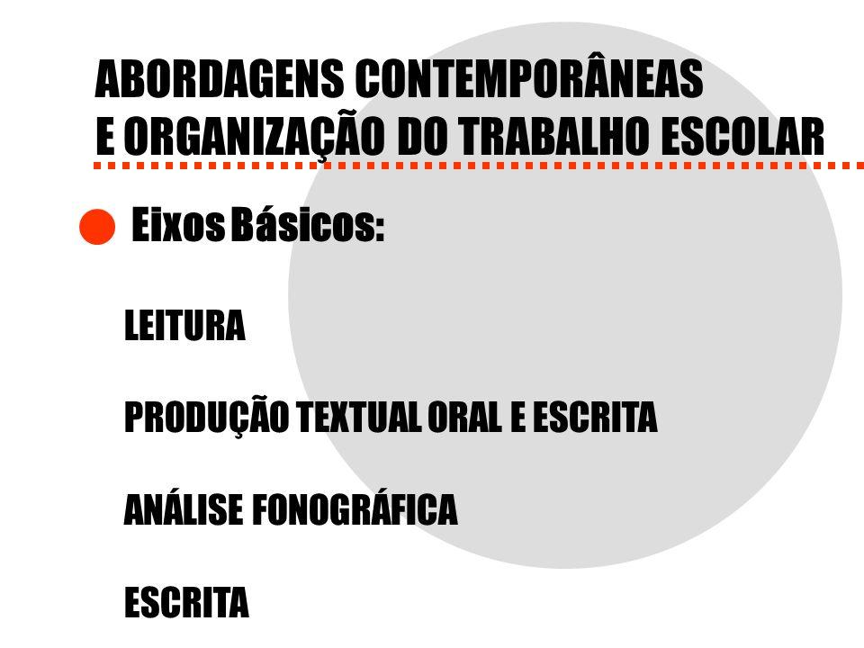 ABORDAGENS CONTEMPORÂNEAS E ORGANIZAÇÃO DO TRABALHO ESCOLAR Eixos Básicos: LEITURA PRODUÇÃO TEXTUAL ORAL E ESCRITA ANÁLISE FONOGRÁFICA ESCRITA