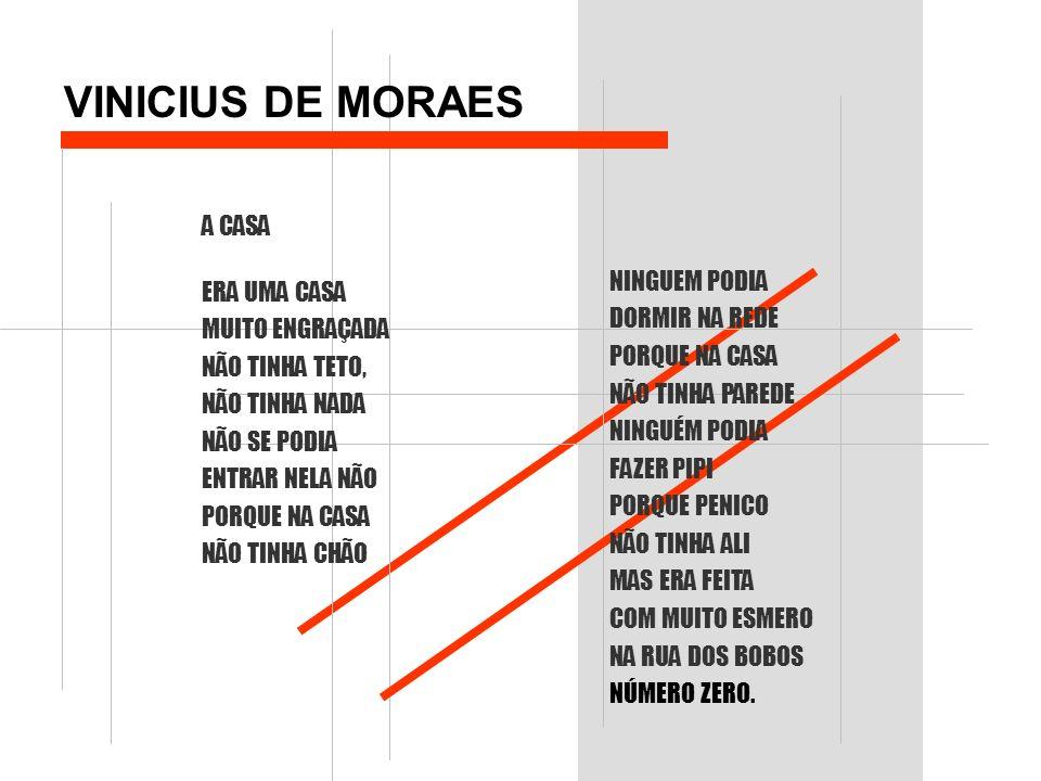 VINICIUS DE MORAES A CASA ERA UMA CASA MUITO ENGRAÇADA NÃO TINHA TETO, NÃO TINHA NADA NÃO SE PODIA ENTRAR NELA NÃO PORQUE NA CASA NÃO TINHA CHÃO NINGU