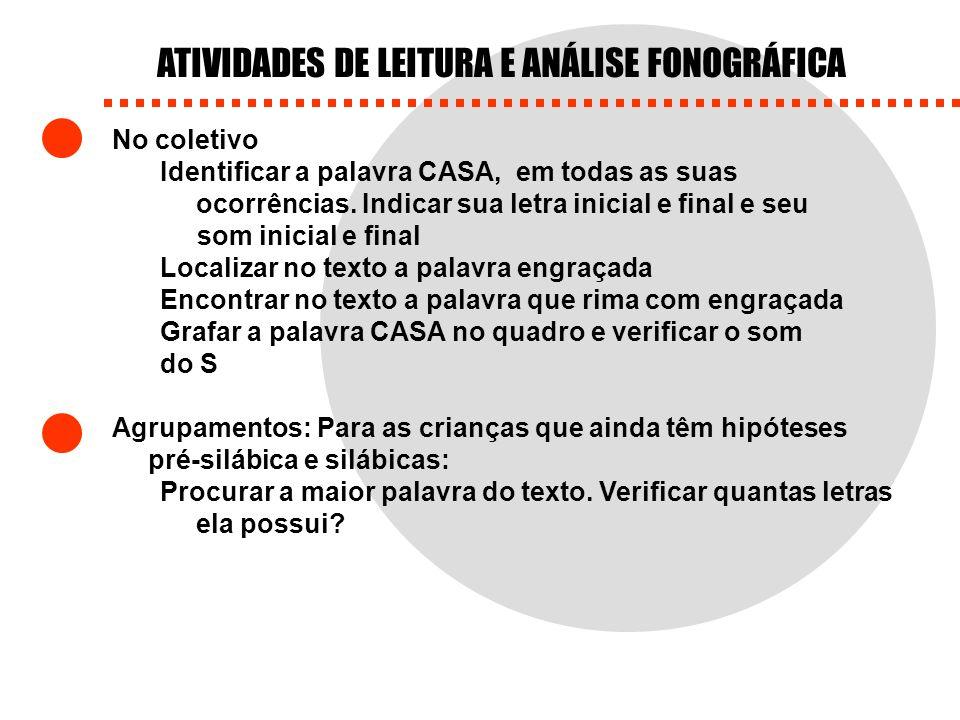ATIVIDADES DE LEITURA E ANÁLISE FONOGRÁFICA No coletivo Identificar a palavra CASA, em todas as suas ocorrências. Indicar sua letra inicial e final e