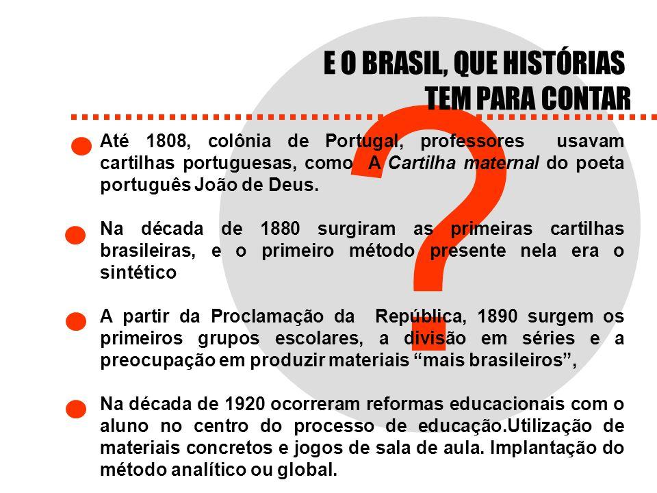 ? Até 1808, colônia de Portugal, professores usavam cartilhas portuguesas, como A Cartilha maternal do poeta português João de Deus. Na década de 1880